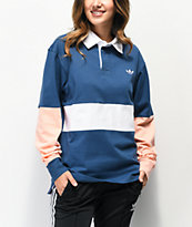 adidas x Nora Navy, Glow Pink & White Long Sleeve Polo Shirt