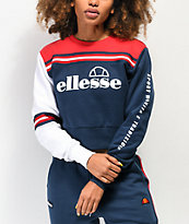 ellesse Umana Red, Navy & White Crop Crew Neck Sweatshirt
