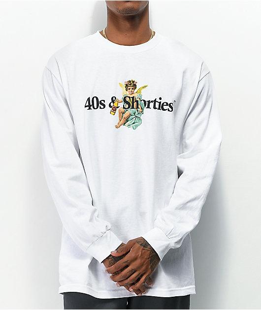 40s & Shorties Angel Logo White Long Sleeve T-Shirt