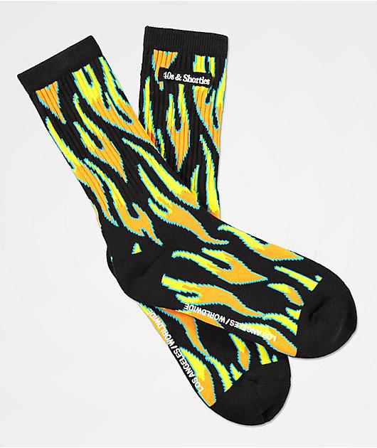 40s & Shorties Fire Black Crew Socks