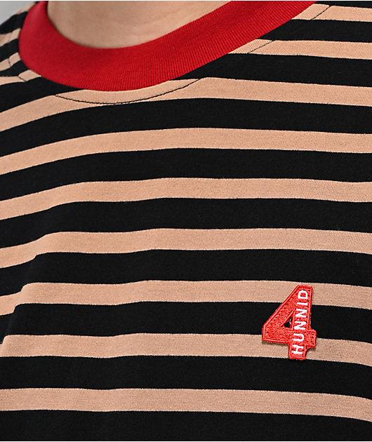 4Hunnid Khaki & Black Striped T-Shirt