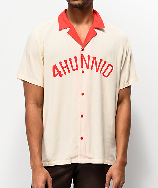 4Hunnid Pro League White & Red Woven Short Sleeve Button Up Shirt
