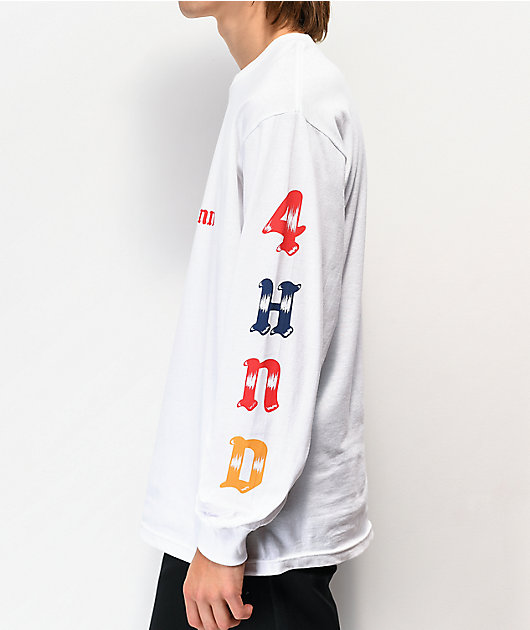 4Hunnid Sketch Letters White Long Sleeve T-Shirt