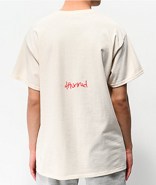 4Hunnid Team camiseta de color crema
