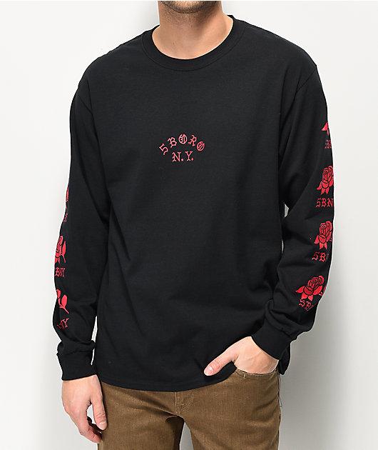 5Boro Rose Black Long Sleeve T-Shirt