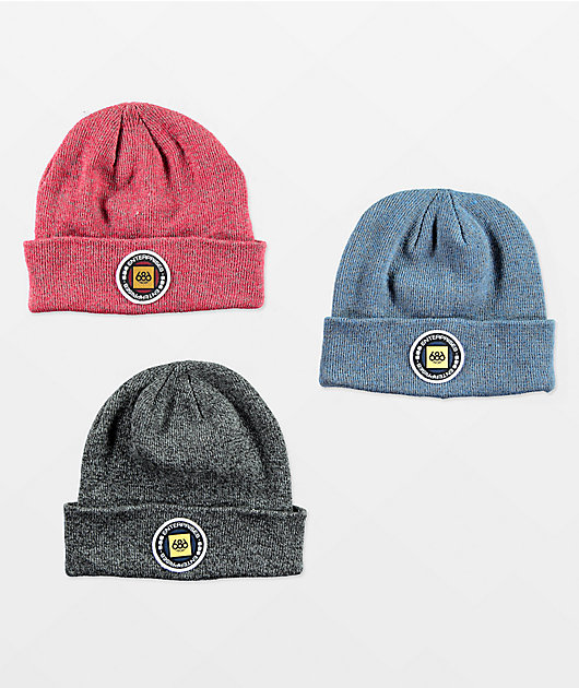 686 Red, Blue, & Grey Melange 3 Pack Beanies