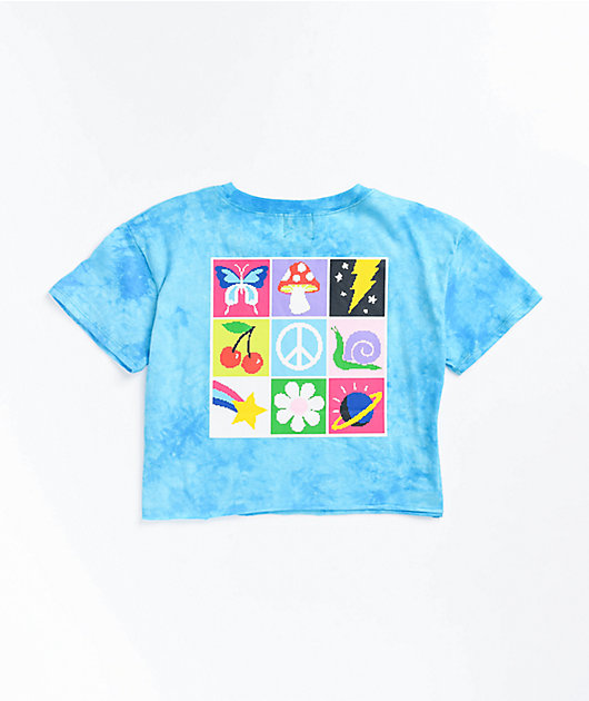 A-Lab Ballina Mushroom Blue Tie Dye Crop T-Shirt