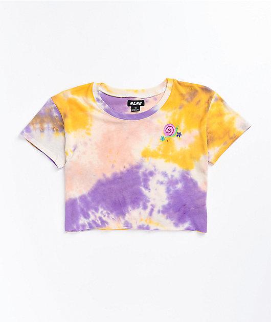 A-Lab Ballina Still Trippin' Multi Tie Dye Crop T-Shirt