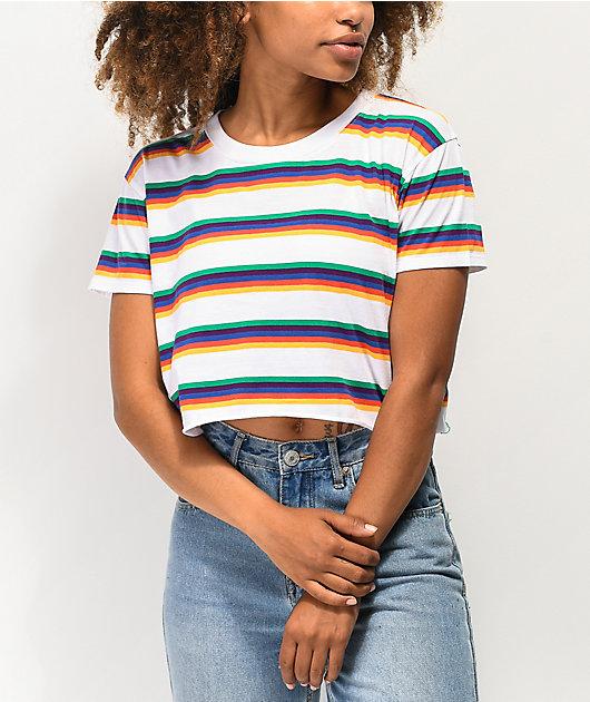 A-Lab Ballina White & Rainbow Stripe Crop T-Shirt