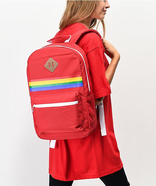 A-Lab Barbara mochila roja con arcoiris