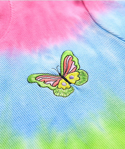 A-Lab Curly Butterfly Rainbow Tie Dye T-Shirt
