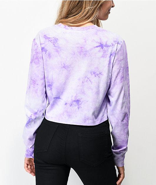 A-Lab Dita Yin Yang Purple Tie Dye Crop Long Sleeve T-Shirt