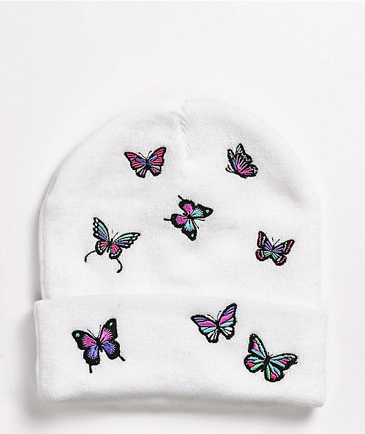 A-Lab Ellison Butterfly Embroidered White Beanie