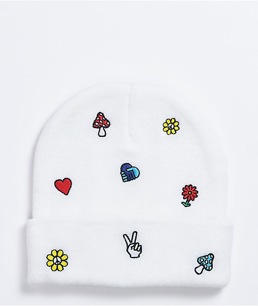 A-Lab Ellison Motif Embroidered White Beanie