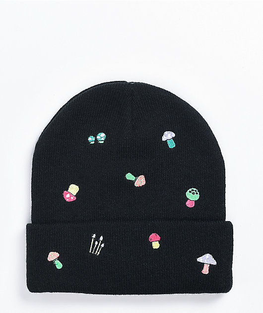 A-Lab Ellison Mushroom Embroidered Black Beanie