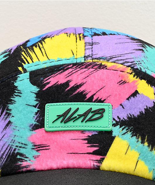 A-Lab Flurry Brush Stroke Black 5 Panel Strapback Hat
