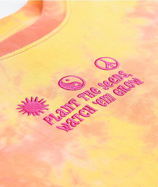 A-Lab Gayle Orange Tie Dye Crop Long Sleeve T-Shirt