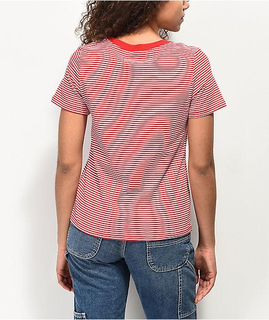 A-Lab Hardie Strawberry Red & White Stripe T-Shirt