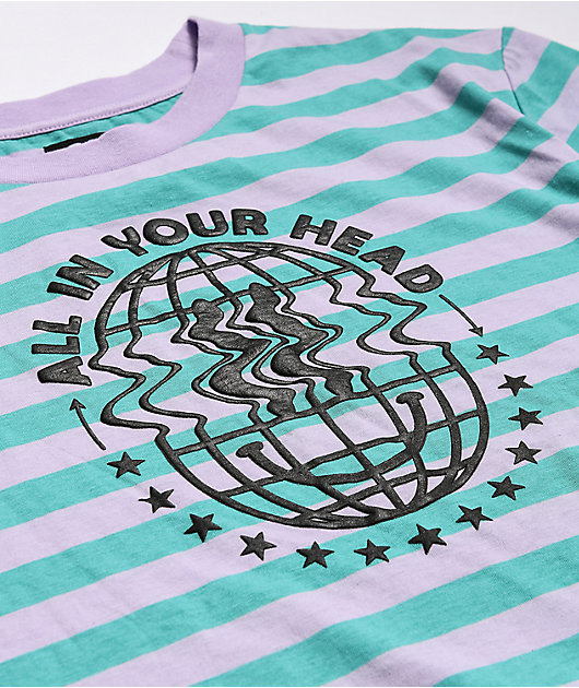 A-Lab In Your Head Pink & Teal Stripe Knit T-Shirt