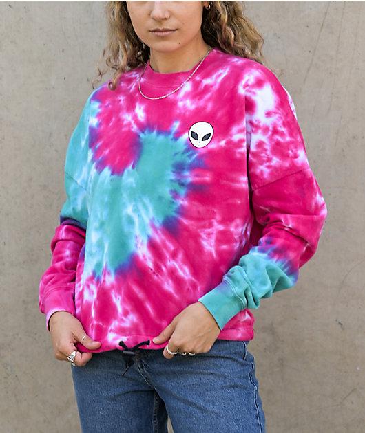 A-Lab Jolene Pink & Blue Tie Dye Crop Crew Neck Sweatshirt