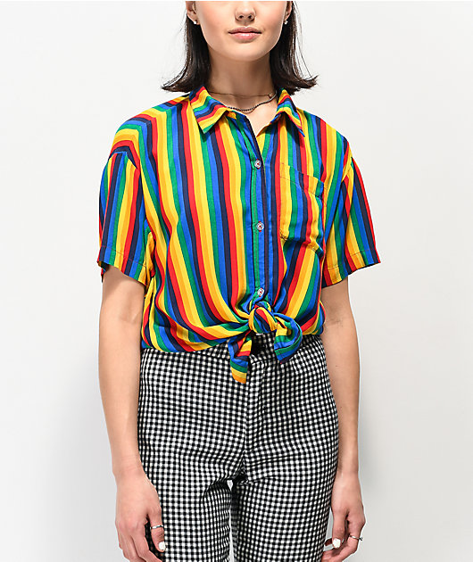 A-Lab Kilo Rainbow Stripe Tie Front Short Sleeve Button Up Shirt