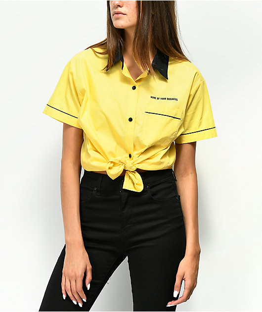 A-Lab Kilo Yellow Tie Front Button Up Shirt