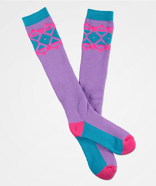 A-Lab Lumi Pink & Purple Snow Socks