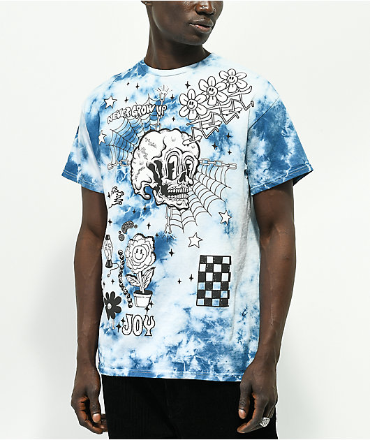 A-Lab Never Grow Up Blue & White Tie Dye T-Shirt