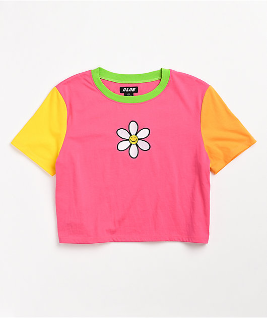 A-Lab Quinne Daisy Colorblock Pink, Orange & Yellow Crop T-Shirt