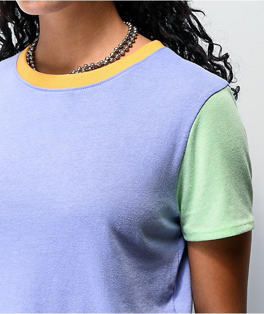 A-Lab Quinnie Colorblock Light Purple Crop T-Shirt