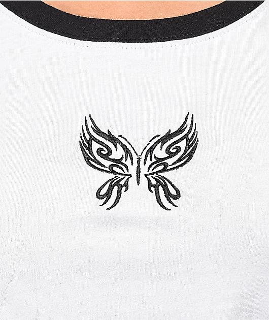 A-Lab Ringer Butterfly camiseta corta blanca