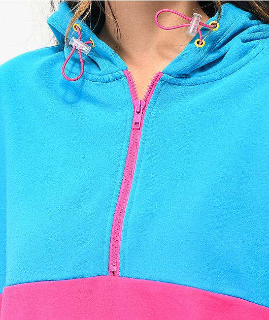 A-Lab Roane sudadera con capucha rosa y azul con media cremallera