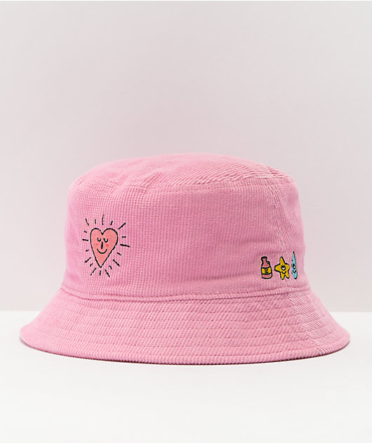 A-Lab Round And Round Pink Corduroy Bucket Hat