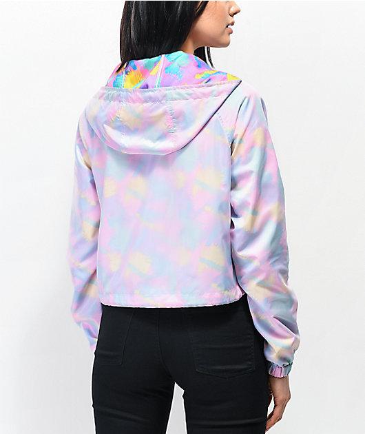 A-Lab Taja Translucent Print Crop Windbreaker Jacket