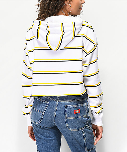 A-Lab Zaira White & Yellow Stripe Crop Hoodie