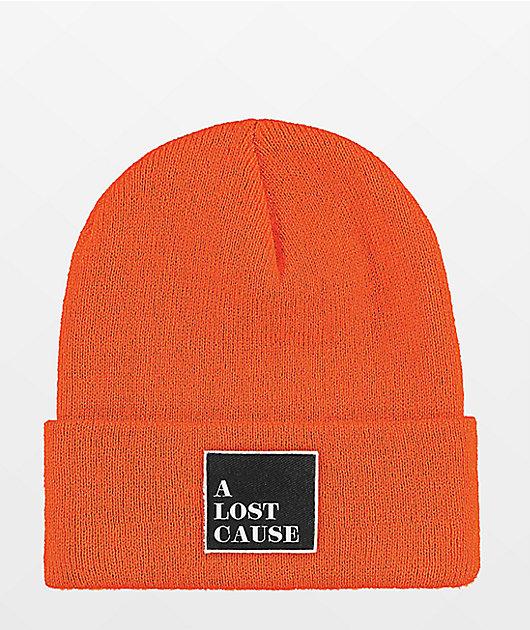 A Lost Cause Squared Tall Orange Beanie
