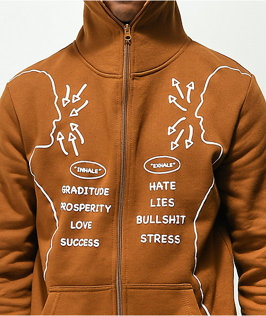 Above The Norm Inhale Brown & White Full Zip Hoodie