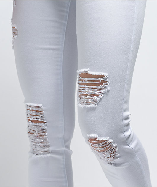 Almost Famous Ankle White Destructed Skinny Jeans