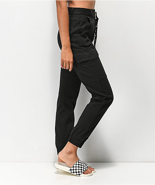 Almost Famous Belted Black Cargo Pants