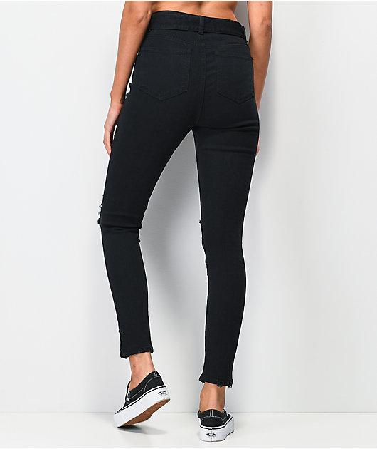Almost Famous Belted Black Denim Jogger Pants