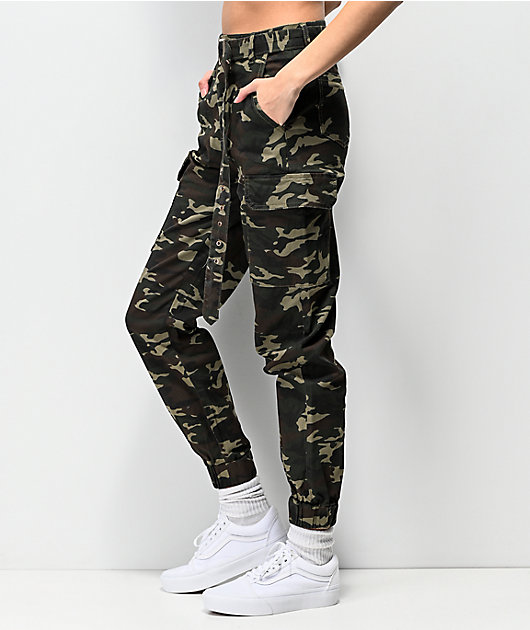 Almost Famous Belted Camo Cargo Jogger Pants