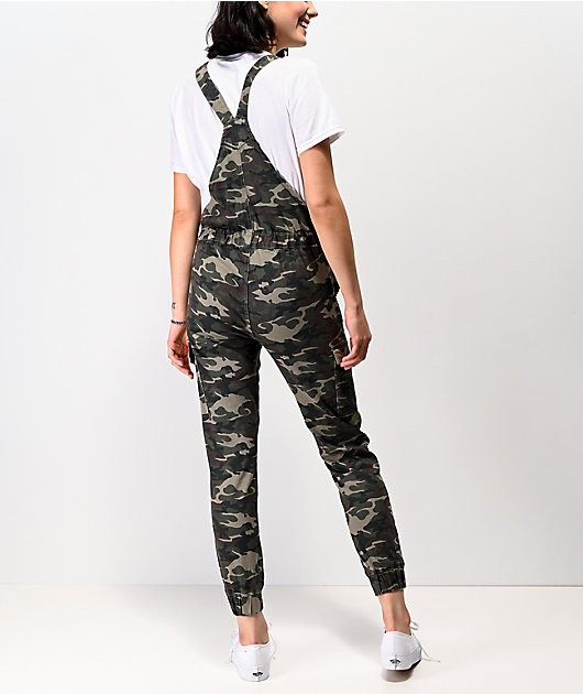 Almost Famous Camo Cargo Jogger Overalls