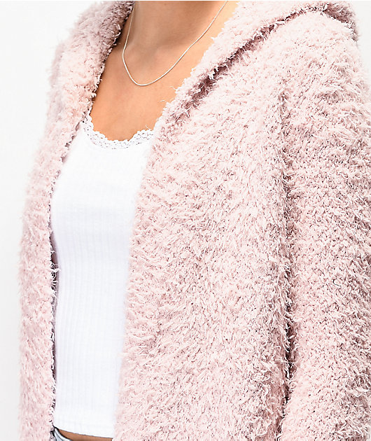 Almost Famous Cardi Sherpa Pink Hooded Cardigan