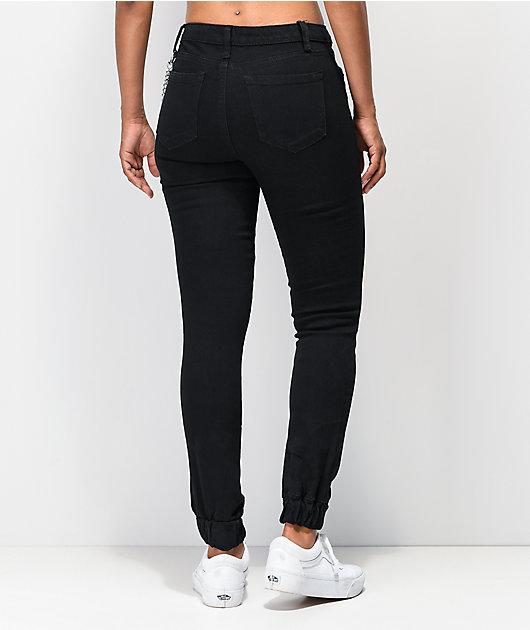 Almost Famous Chain Black Denim Skinny Jogger Pants