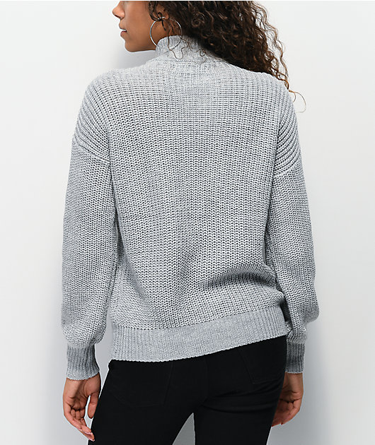 Almost Famous Cory Grey Half Zip Sweater