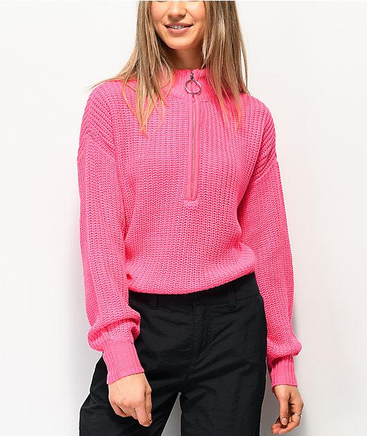Almost Famous Cory suéter rosa con media cremallera