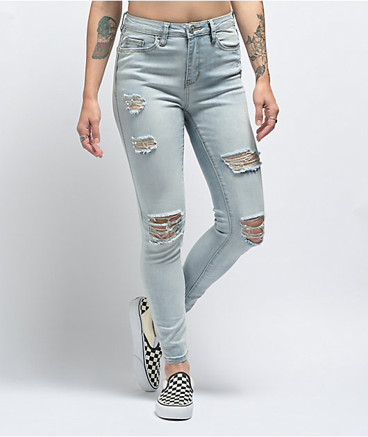 Almost Famous Distressed Light Wash Skinny Jeans