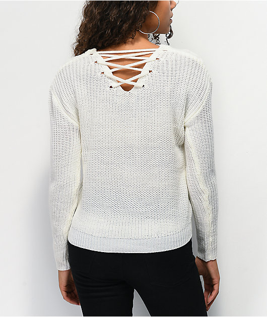 Almost Famous Finley Lace Back Ivory Sweater