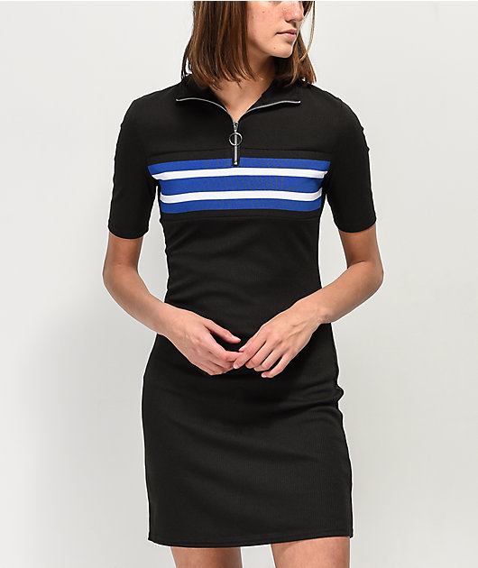 Almost Famous Navy Striped Black Short Sleeve Ribbed Sweater Dress