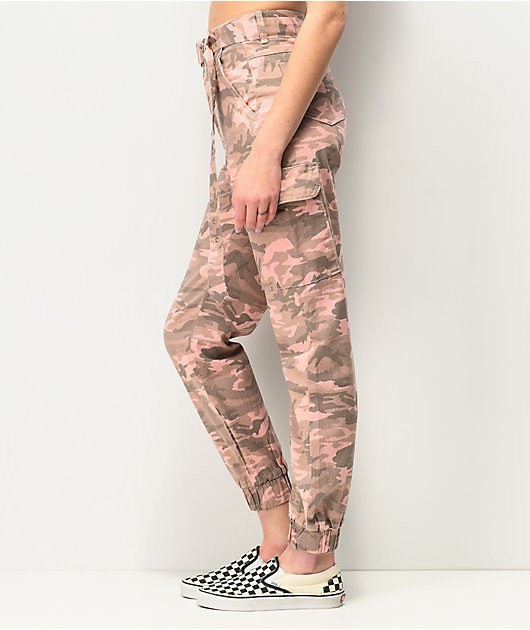Almost Famous Pink Camo Cargo Jogger Pants